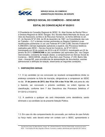 Edital de Convocação Nº05/2013 - SESC