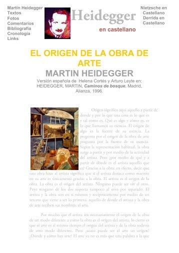 Heidegger en castellano - El origen de la obra de arte