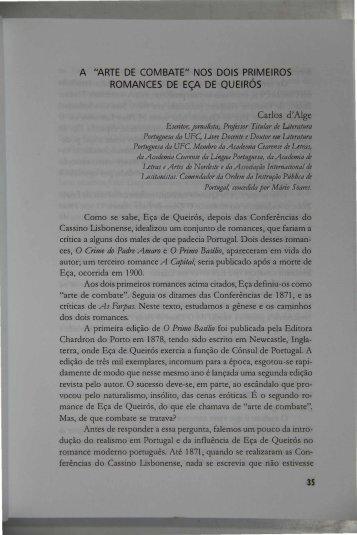 A Arte de Combate nos dois primeiros romances de Eça de Queirós