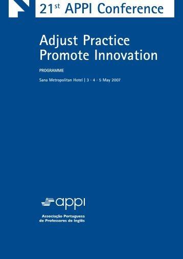 Programme - APPI - Associação Portuguesa de Professores de Inglês