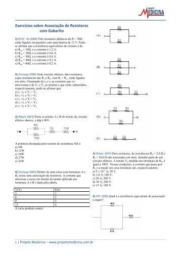 Exercícios sobre Associação de Resistores com ... - Projeto Medicina