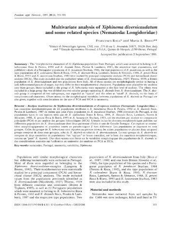 Multivariate analysis of Xiphinema diversicaudatum and some ... - IRD