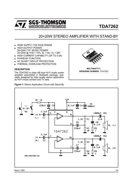 TDA7262 - Datasheet Catalog