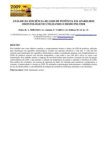 análise da eficiência de leds de potência em aparelhos