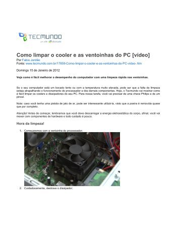 448604f6cbb Como limpar o cooler e as ventoinhas do PC  vídeo  - TecMundo