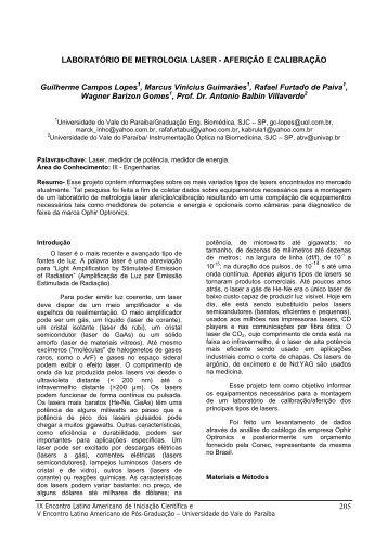 LABORATÓRIO DE METROLOGIA LASER ... - INIC - Univap