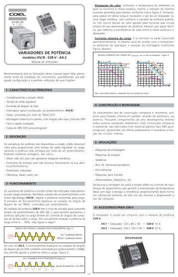 Manual de Instruções HV-8/SSR-V/AX-2 – rev.5 - Home Page » Coel