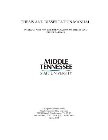 thesis and dissertation manual - Middle Tennessee State University