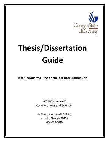 Thesis/Dissertation Guide - College of Arts & Sciences - Georgia ...