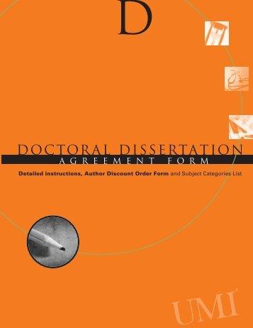 Doctoral Dissertation Agreement Form - UMDNJ-School of Nursing