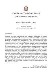COMITATO NAZIONALE PER LA BIOETICA - Governo Italiano