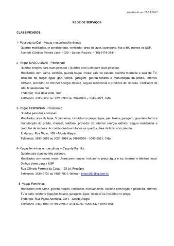 Atualizado em 22/03/2013 REDE DE SERVIÇOS CLASSIFICADOS ...