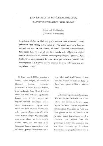 """Joan Binimelis i la """"Història de Mallorca"""" - Xarxa Vives d'Universitats"""