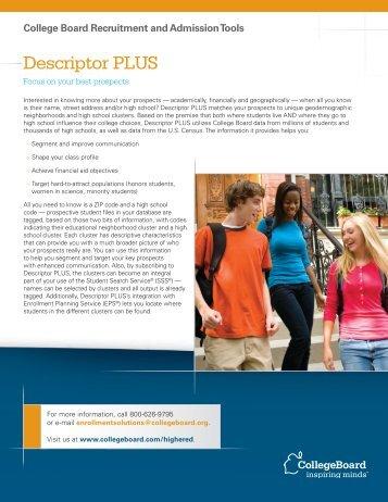 Descriptor PLUS - College Board
