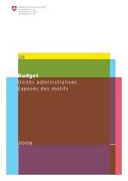 Tome 2B Unités administratives, Exposé des motifs B2009 - admin.ch