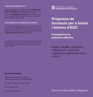 Programa de formació per a tutors i tutores d'ESO - Ateneu - Xtec