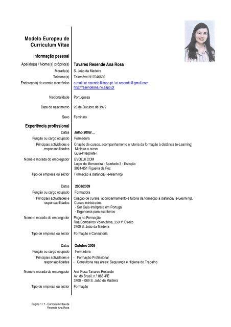 Modelo Europeu De Curriculum Vitae Ana Resende Sapo