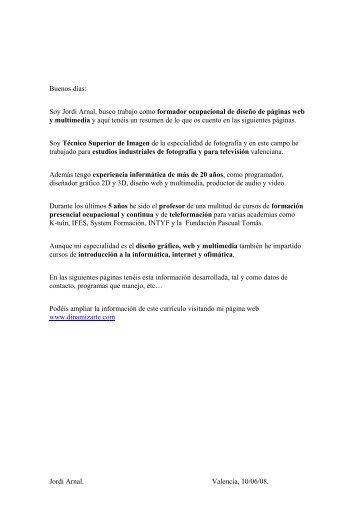 Curriculum Jordi Arnal Formador