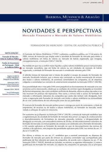 Mercado Financeiro e de Valores Mobiliários Janeiro 2003
