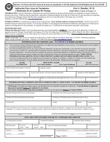 Aplicación Para Actas de Nacimiento y Defunción de el Condado ...