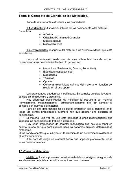 Tema 1 Concepto De Ciencia De Los Materiales Epsferrol