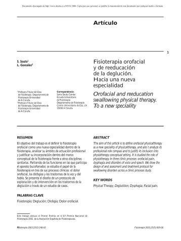 Fisioterapia orofacial y de reeducación de la deglución. Hacia