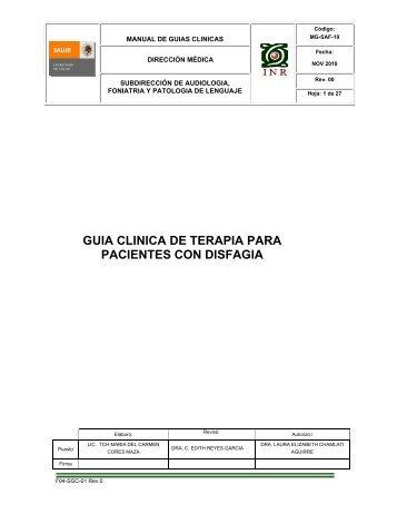 guia clinica de terapia para pacientes con disfagia - Inicio