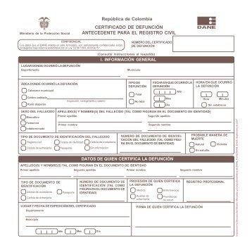 República de Colombia CERTIFICADO DE DEFUNCIÓN ... - Dane