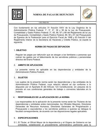 norma de pagas de defuncion - Secretaría de Hacienda y Crédito ...