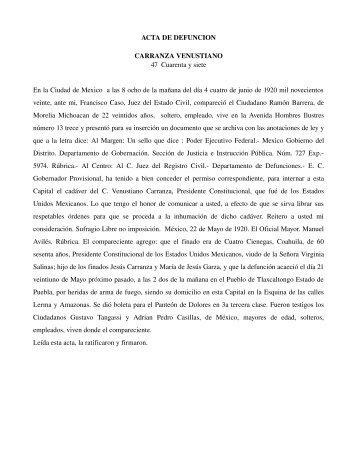 ACTA DE DEFUNCION CARRANZA VENUSTIANO 47 Cuarenta y ...