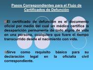 Pasos Correspondientes para el Flujo de Certificados de Defunción