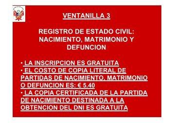 ventanilla 3 registro de estado civil: nacimiento, matrimonio