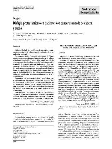 Disfagia pretratamiento en pacientes con cáncer ... - SciELO España