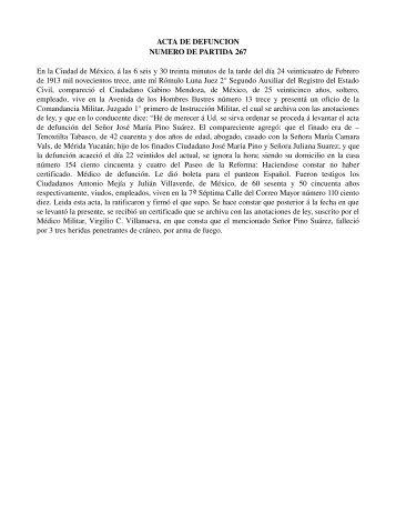 ACTA DE DEFUNCION NUMERO DE PARTIDA 267 En la Ciudad ...