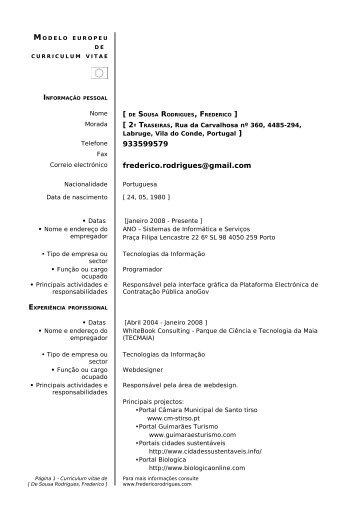 estrutura curriculum vitae europass
