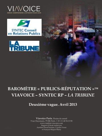 BAROMÈTRE « PUBLICS-RÉPUTATION »™ VIAVOICE – SYNTEC RP – LA TRIBUNE