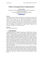 Politics in Packaged Software Implementation - LSE Computer ...