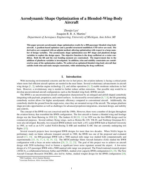 Shape And Planform Optimization Of The Blended Wing Body Manual Guide