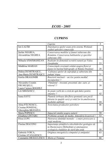 FLORA ŞI FAUNA RÂULUI DÂMBOVIŢA, - ecos - revista de ecologie