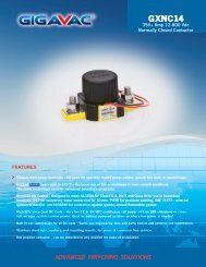 GIGAVAC GXNC14 Normally closed contactors