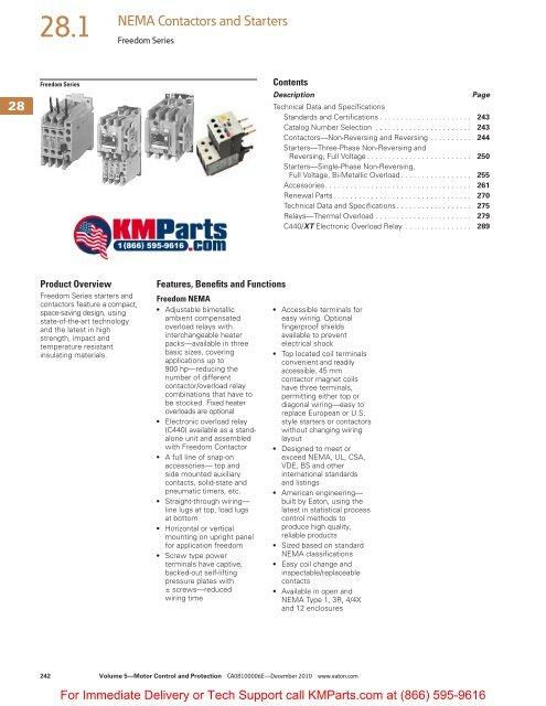 28.1 NEMA Contactors and Starters - Klockner Moeller Parts