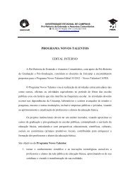 Programa Novos Talentos Edital 55/2012 - PREAC - Unicamp