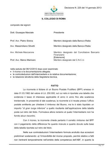 Decisione N. 225 del 14 gennaio 2013 - Arbitro Bancario Finanziario