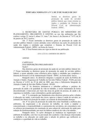 PORTARIA NORMATIVA Nº 3, DE 25 DE MARÇO DE 2013 Institui ...