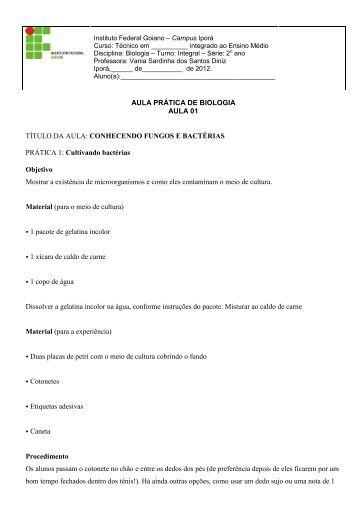 AULA PRÁTICA DE BIOLOGIA AULA 01 - Instituto Federal Goiano
