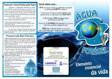 Folder sobre Água Potável - Secretaria de Educação e Cultura