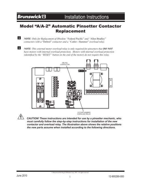 """Model """"A/A-2"""" Automatic Pinsetter Contactor Replacement - Brunswick"""
