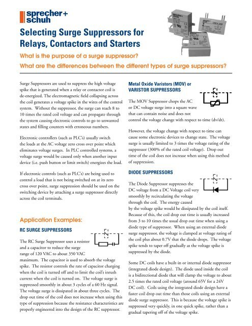 Selecting Surge Suppressors for Relays, Contactors and Starters