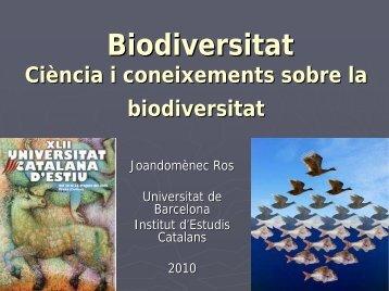 CIÈNCIES DE LA NATURA— Biodiversitat. Ciència i coneixements