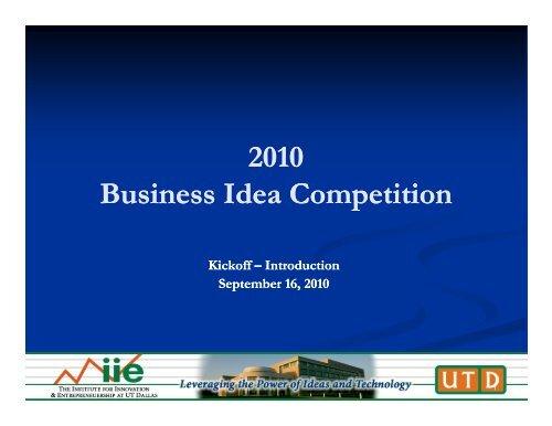 Business Idea - Institute for Innovation & Entrepreneurship at UT ...